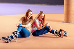 Beautiful girls on the rollerdrome Stock Photography