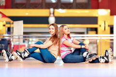 Beautiful girls on the rollerdrome Stock Images