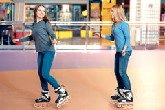 Beautiful girls on the rollerdrome Royalty Free Stock Photo