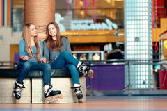 Beautiful girls on the rollerdrome Royalty Free Stock Images
