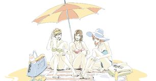 Beautiful girls on sand beach in swimsuit. S. Two best friends have a rest on sand beach. Girls sit on beach mat under umbrella, they`re talking and laughing Royalty Free Stock Image