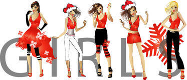 Beautiful girls in a Santa suits Royalty Free Stock Photography
