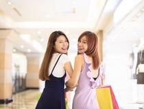 Beautiful girls shopping in the mall. Beautiful asian girls shopping in the mall Stock Photo