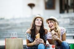 Beautiful Girls in Shopping Royalty Free Stock Image
