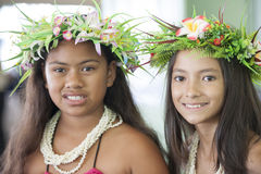 Beautiful Girls of the South Pacific with Hair Acc Royalty Free Stock Photography