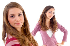 Beautiful girls standing in front of camera Royalty Free Stock Photos