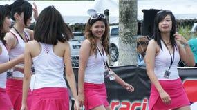 Beautiful girls on track Royalty Free Stock Image