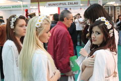 Girls at Romanian Tourism Fair Stock Photos