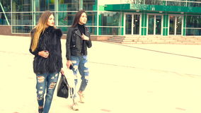 Beautiful girls walk in the Park. Beautiful young girls blonde and brunette walk in the Park stock footage