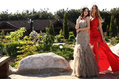 Beautiful girls wearing elegant dresses and luxurious crown Royalty Free Stock Photos