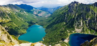 Beautiful glacial lakes in Polish Tatras mountains Stock Photos