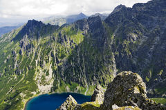 Beautiful glacial lakes in Polish Tatras mountains Royalty Free Stock Image