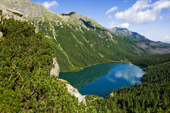 Beautiful glacial lakes in Polish Tatras mountains Royalty Free Stock Images