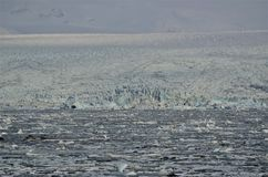 Glacier and glacial ice floating in glacial lagoon, Jokursarlon lagoon, Iceland Royalty Free Stock Photo
