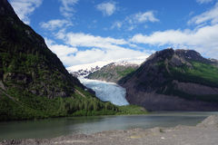 A beautiful glacier winding down a moutain Royalty Free Stock Image