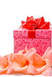 Beautiful gladiolus and gift box Stock Images