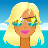 Beautiful glamorous blonde in sunglasses on the beach Stock Photography