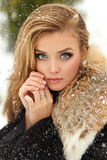 Beautiful glamorous girl in fur coat smiling in winter. Snowing Stock Photos