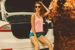 Beautiful glamorous Lady in glasses outdoors stock photography