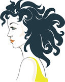 Beautiful Glamorous Woman. Charming Woman with black curly hair. Color vector illustration stock illustration