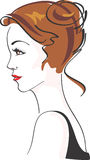 Beautiful Glamorous Woman. Charming Woman with brown styled hair. Color vector illustration vector illustration