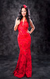 Beautiful glamorous woman with red dress Royalty Free Stock Photo