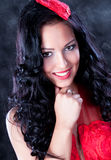 Beautiful glamorous woman with red dress Royalty Free Stock Photos