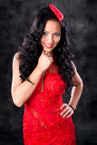 Beautiful glamorous woman with red dress Stock Image