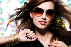 Beautiful glamour fashionable woman in sunglasses. Portrait of beautiful glamour fashionable woman in sunglasses Stock Photos