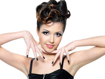 Beautiful glamour girl with  black nails. Royalty Free Stock Photography