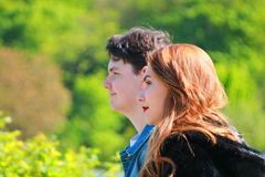 Pretty teens friends together outdoors. royalty free stock images