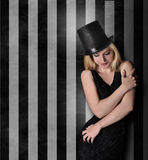 Beautiful Glamour Girl Standing Against Striped Wall Royalty Free Stock Photography