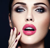 Beautiful glamour model with fresh daily makeup with. Sensual glamour portrait of beautiful  woman model lady with fresh daily makeup with pink lips color and Stock Photos