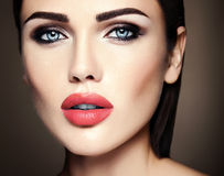 Beautiful glamour model with fresh daily makeup with Royalty Free Stock Photography