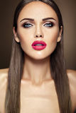 Beautiful glamour model with fresh daily makeup with Stock Photography