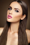 Beautiful glamour model with fresh daily makeup with Royalty Free Stock Photos