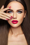 Beautiful glamour model with fresh daily makeup with Stock Images