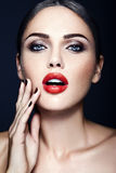 Beautiful glamour model with fresh daily makeup with Royalty Free Stock Image