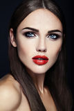 Beautiful glamour model with fresh daily makeup with Royalty Free Stock Photo