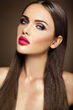 Beautiful glamour model with fresh daily makeup with Royalty Free Stock Images