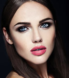 Beautiful Glamour Model With Fresh Daily Makeup With Stock Photos