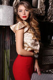 Beautiful glamour woman with blond hair in luxurious dress Royalty Free Stock Photo