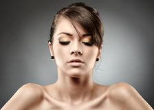 Beautiful glamour woman on gray background Royalty Free Stock Photo