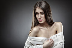 Beautiful glamour woman on gray background Royalty Free Stock Images