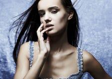 Beautiful glamour woman posing in blue Stock Image