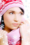Beautiful glamour woman in the red warm winter hat Royalty Free Stock Photo