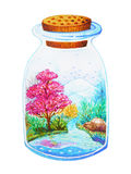 Beautiful glass bottle garden watercolor painting design Stock Images