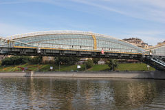 Beautiful glass bridge in Moscow Royalty Free Stock Photo