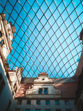 Beautiful glass roof with geometric forms. Beautiful glass roof with rhombus forms Royalty Free Stock Images