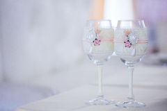 Beautiful glasses of champagne and wine, wedding decor, celebration, close-up Stock Photography
